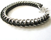 Chainmail Bracelet Black Goth Steampunk Half Persian 3 in 1