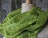 SALE -30% cobweb felted scarf, cobweb felted shawl, green, cobweb