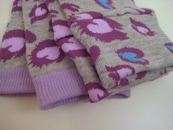 Heather Grey with Animal Print & Hearts Baby/Toddler Leggings (Plum, Blue, Lavender)