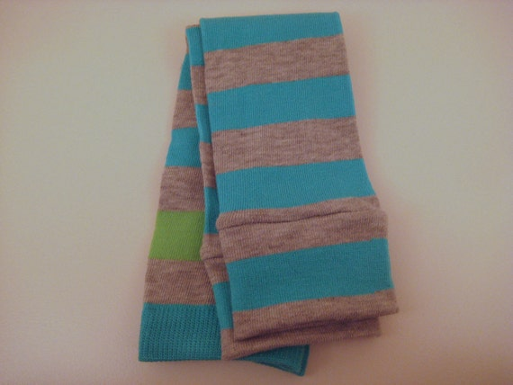 Heather Grey & Aqua Striped Baby/Toddler Leggings with Lime Green