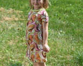Childrens Clothing Boutique Girls Dress Spring Summer Groovy 1960s Pucci psychedelic swirls knit dress