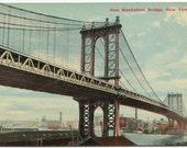 Vintage Manhattan Bridge Postcard, New York City, Unused, FREE shipping
