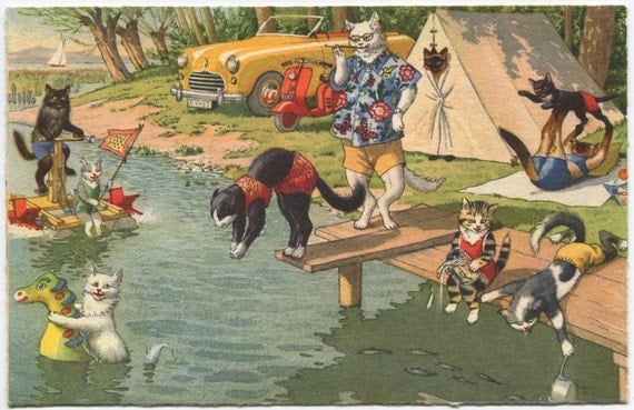 Vintage Cats Summer Picnic Postcard Alfred Mainzer Company