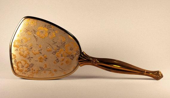 Antique Hand Mirror, with floral design, gold, vintage ladies mirror - Price Reduced