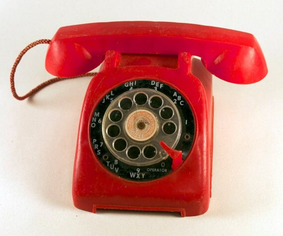 Vintage 1960s Red Toy Telephone