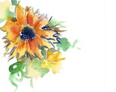 Handpainted Note Card Sunflower Yellow Watercolor Art Any occasion Blank Orange under 10