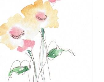 Handpainted Note Card Watercolors Art Flowers
