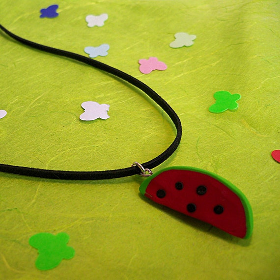 watermelon slice necklace fimo clay leather