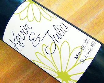 Custom Wine Labels - Whimsical Flower (Set of 5)