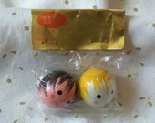 2 Vintage Pre-Painted Wood Doll Heads For Crafts
