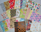 25 Sheets Cut from Vintage Wrapping Paper For Scrapbooking or Altered Art