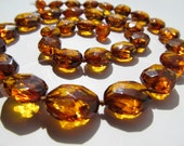 RESERVED for IRINa. Luxury Baltic Amber Necklace Cognac Color Faceted Olive Beads