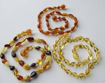 Lot Of 3 Baltic Amber Baby Teething Neklace Cognac Lemon  Multicolor