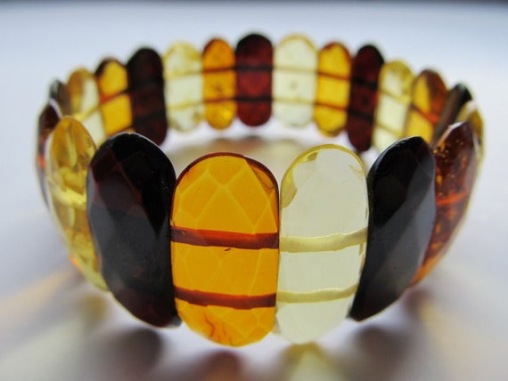 Luxury Baltic Amber Bracelet Multicolor Faceted