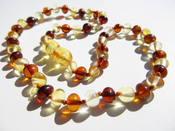 Healing Best Quality Baltic Amber Baby Teething Necklace Rounded Lemon and Cognac Color Beads