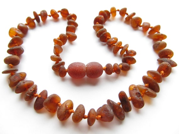 Raw Unpolished Baltic Amber Baby Teething Necklace Cherry Color Beads