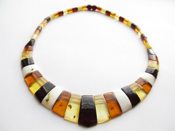 Luxury Baltic Amber Multicolor Necklace CLEOPATRA