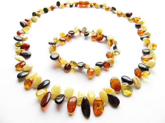 Baltic Amber Multicolor Necklace and Matching Bracelet