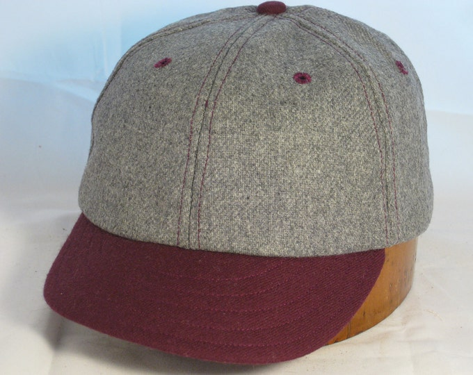 Baseball cap, 6 panel soft wool flannel with supple leather sweatband, any size available.