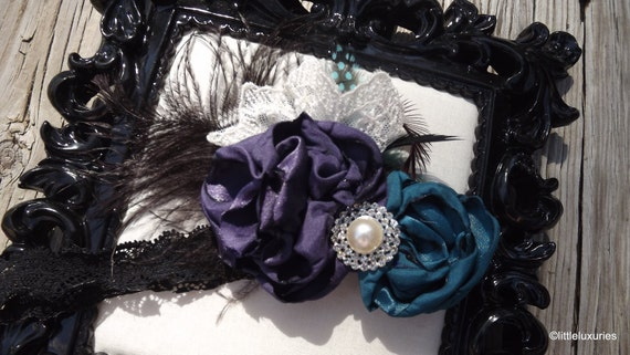 Teal & Auburgine Handmade Singed Flower Headband,for Special Occasions or a Photo Prop