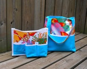 Blooms and Turquoise Tote Bag with Organizer  - iPad or Laptop Sleeve