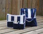 Sailor Navy Stripes Tote Bag with Organizer - Laptop or iPad Sleeve