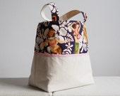 Vintage Print Hula Girls Canvas Tote Bag - with Pink Trim
