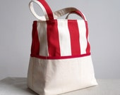 Candy Stripe Canvas Tote Bag - Bold Red and Natural Stripes Large Beach Bag