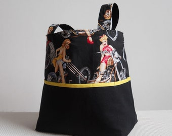 Motorcycle Girls Large Canvas Tote Bag
