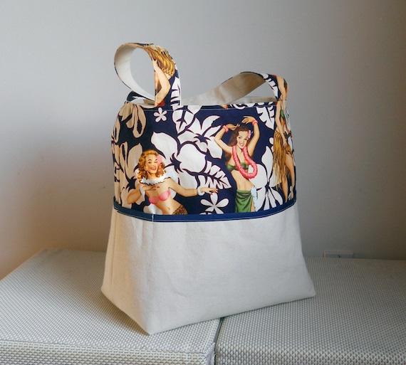 Vintage Print Hula Girls Canvas Tote Bag - with Blue Trim