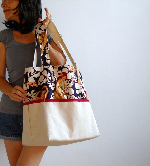 Vintage Print Hula Girls Canvas Tote Bag - with Red Trim