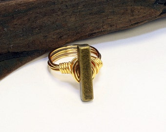Brass Button Ring, Brass Bar Ring, Gold Bar Ring, Minimalist Ring, Wire Wrapped Ring, Gold Wire Ring, Metal Button Ring, Button Jewelry