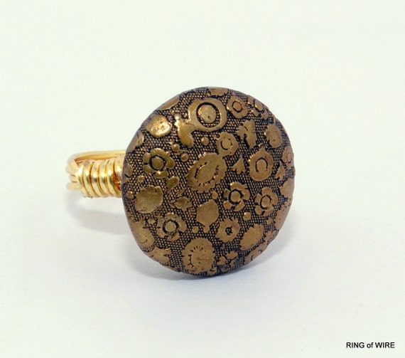 CLEARANCE Gold Flower Button Ring with Gold Wire