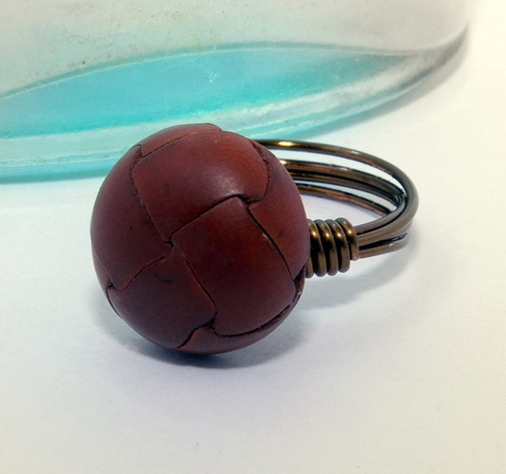 CLEARANCE Brown Leather Button Ring with Antique Brass Wire
