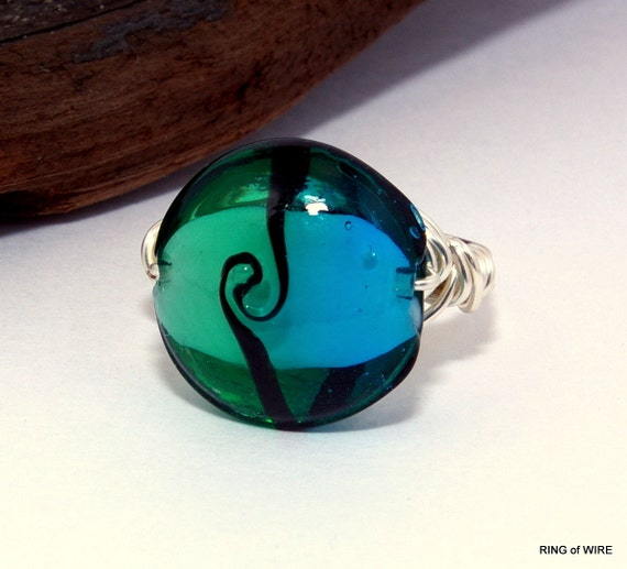 SALE Aqua Green Bead Ring with Black Center Swirl and Silver Wire