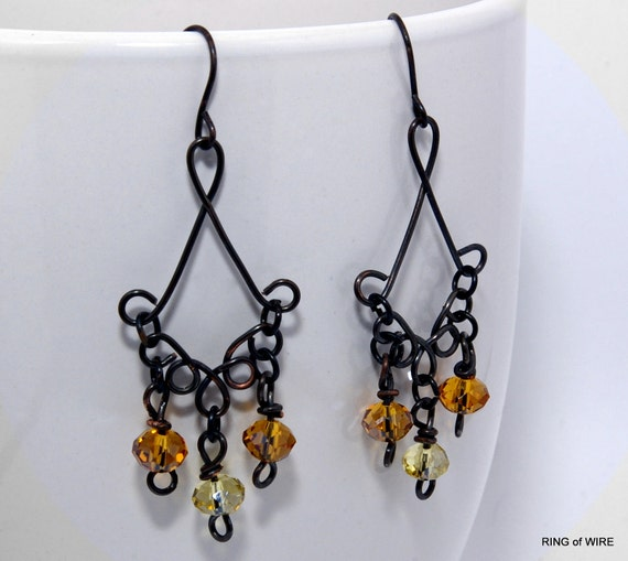 CLEARANCE Antiqued Wire Earrings with Amber and Yellow Glass Beads