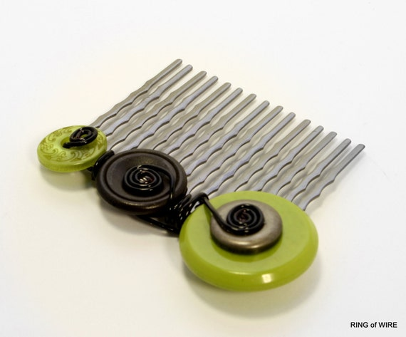 Black Hair Comb with Green and Metal Buttons and Black Wire Accents