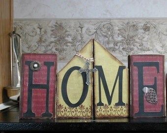 HoMe shelf sitter blocks -  a set of word blocks with house shape in middle for traditional and country lovers
