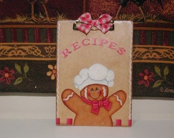 GINGERBREAD  Chef Clipboard Recipe or Note holder