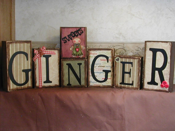 Gingerbread girl word blocks -shelf sitters -wall hangers for the collector