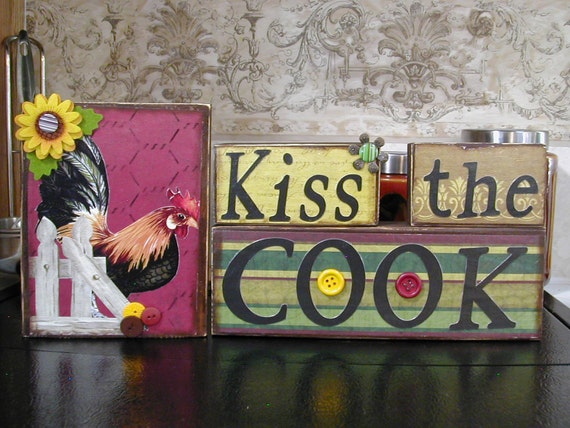 Rooster- Kiss the Cook blocks Handmade