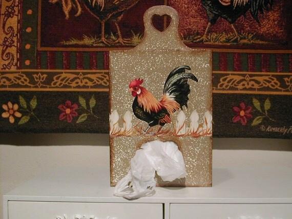 Rooster Plastic Bag Holder...Wood...Kitchen Decor...Collector..Housewarming Gift