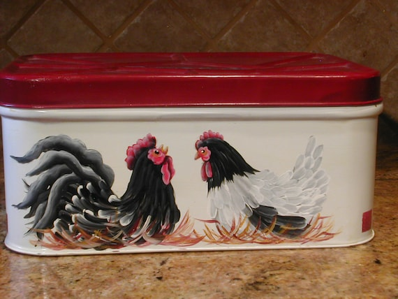 Vintage Bread box with Rooster and Hen-1950's-Tuscan style