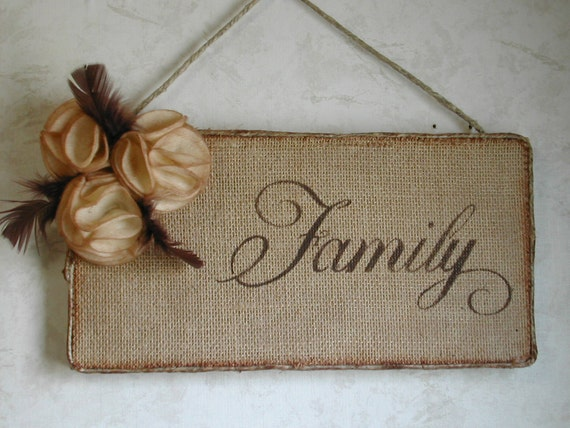 FAMILY  wall hanging on Burlap