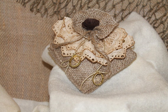 Rustic Burlap and Lace Ring Pillow..Oudoor Wedding..Woodland Wedding..Country Wedding