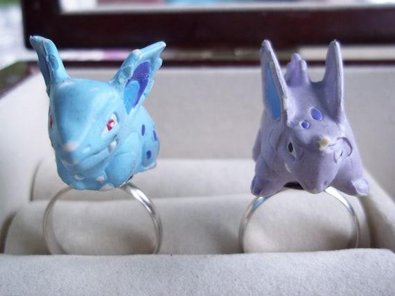 Nidorina and Nidorino Pokemon Friendship or His and Hers Ring Set
