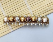 Special Design Bobby Pin, Beadwork on Brown Fabric Trim, Golden, Brown, Silver Color Pearls and Seed Beads Hair Decor (HC010)