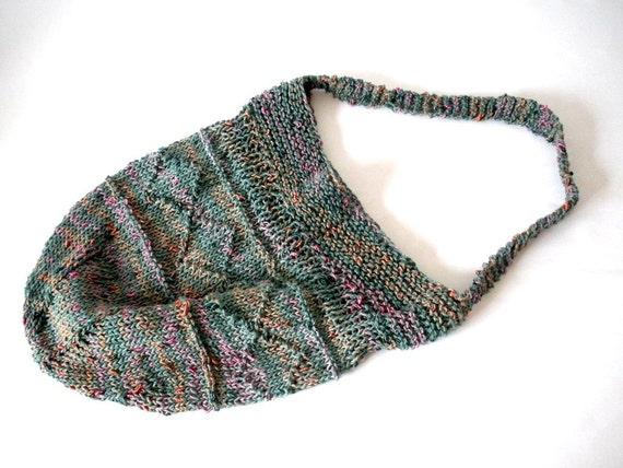 green knitted market bag