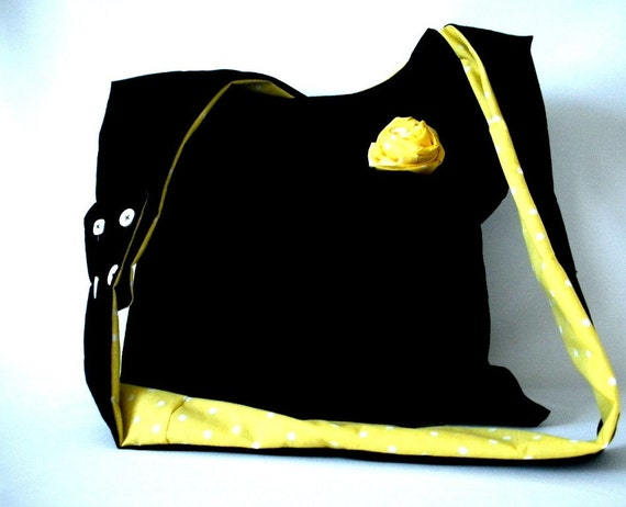 summer bag.  summer trend.gift for her. CROSS BODY BAG - not my yellow and polka dots for you bag