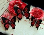 Reneabouquets Butterly Set- Cherry Crush Glitter Glass Butterflies Scrapbook Embellishment Tag, Card, Mini Album, Wedding